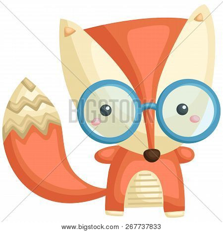 A Vector Of A Cute Fox With Pattern And Wearing Glasses
