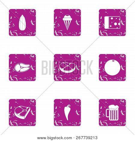 Harvesting Foodstuff Icons Set. Grunge Set Of 9 Harvesting Foodstuff Vector Icons For Web Isolated O
