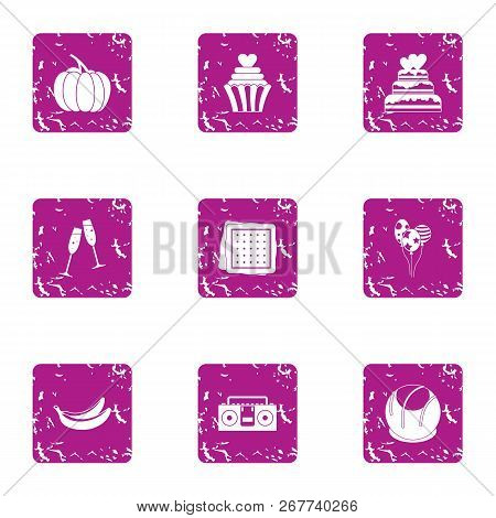 Love Weekday Icons Set. Grunge Set Of 9 Love Weekday Vector Icons For Web Isolated On White Backgrou
