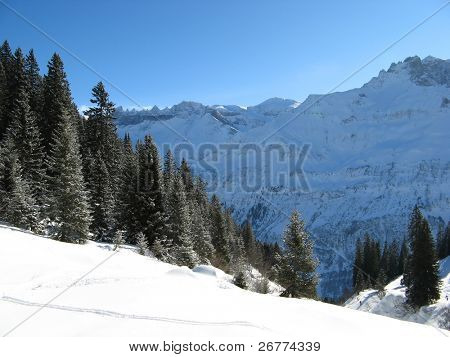 Winter landscape (Winter in Swiss Alps)