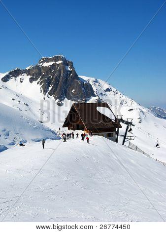 Skiing in swiss alps (Flumserberg, St. Gallen, Switzerland)