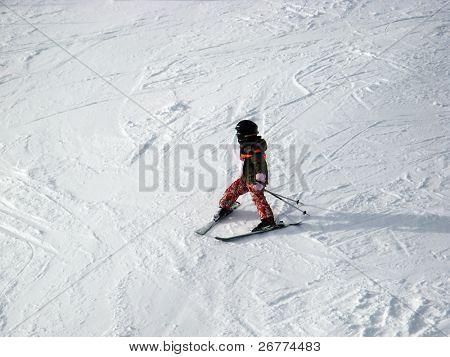 Skiing in swiss alps (Scuol, Graubuenden, Switzerland)