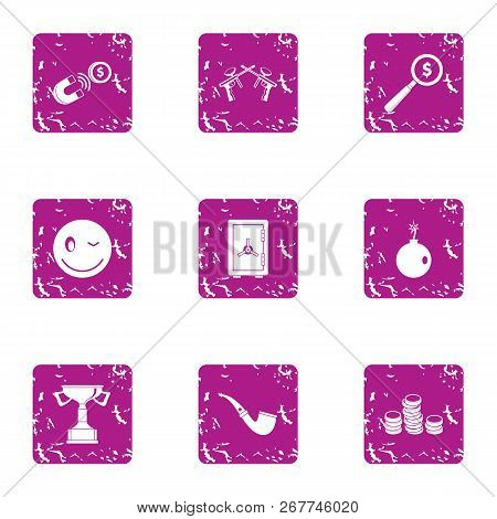 Business Cooperation Icons Set. Grunge Set Of 9 Business Cooperation Vector Icons For Web Isolated O