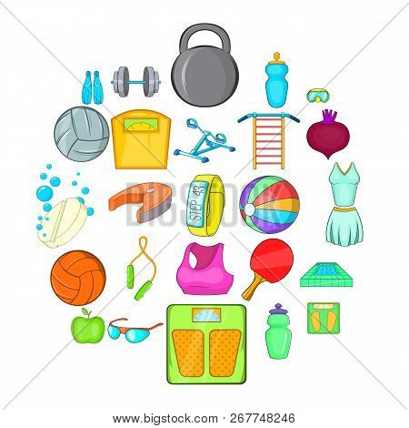 Gymnasium Icons Set. Cartoon Set Of 25 Gymnasium Vector Icons For Web Isolated On White Background