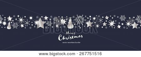 Christmas Time. Dark Blue And Silver Snowflake And Star Seamless Border With Snowman. Text : Merry C