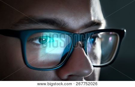 Computer Screen Light Reflect From Glasses. Close Up Of Eyes. Business Man, Coder Or Programmer Work