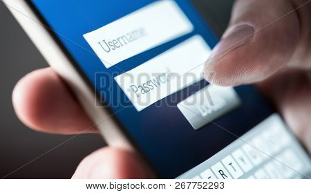 Login With Smartphone To Username And Password. Registration To Website. Personal Security. Online B