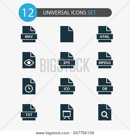 Document Icons Set With Mpeg4, Search, Temporary And Other Format Elements. Isolated Vector Illustra