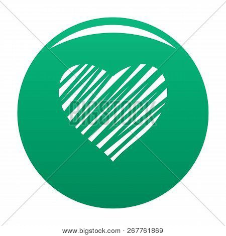 Shaded Heart Icon. Simple Illustration Of Shaded Heart Icon For Any Design Green