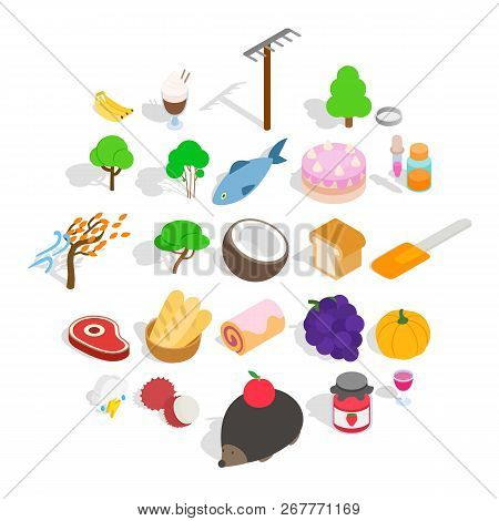 Peasant Farming Icons Set. Isometric Set Of 25 Peasant Farming Vector Icons For Web Isolated On Whit