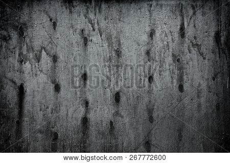 Old Weathered Metal Wall. Shabby Silvery Gray Metallic Surface. Dark Grunge Background