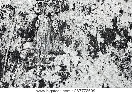 Old Dirty Concrete Wall. Black And White Messy Cement Surface Texture. Grunge Background