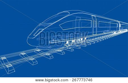 Modern Speed Train Concept. Vector Rendering Of 3d. Wire-frame Style