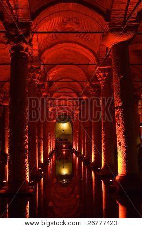 Turkey. Istanbul. Underground basilica cistern. Byzantine water reservoir build by Emperor Justinianus poster