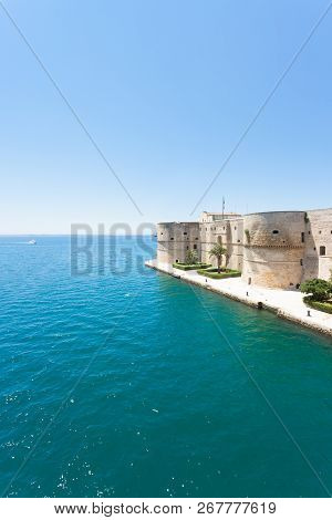 Taranto, Apulia, Italy - The Old Stronghold At The Coastline Of Taranto