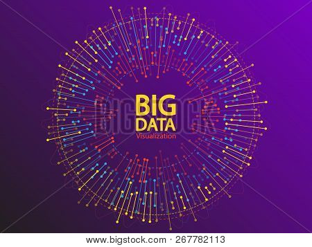 Big Data Visualization Concept Vector Design. Round Frame On Connected Lines And Dots. Digital Analy