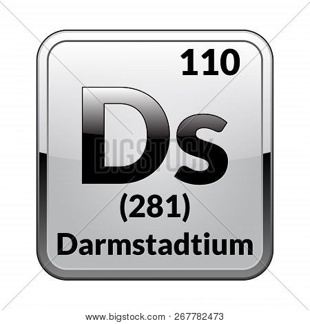 Darmstadtium Symbol.chemical Element Of The Periodic Table On A Glossy White Background In A Silver
