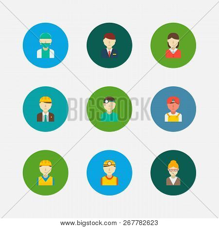 Professional Icons Set. Hotel Receptionist And Professional Icons With Safety Worker, Dentist And Co