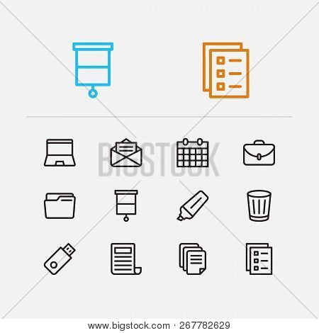 Workspace Icons Set. Case And Workspace Icons With Mail, Flash Drive And Laptop. Set Of Directory Fo