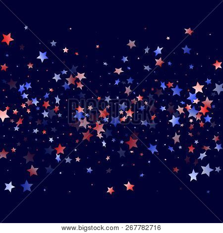 American Presidents Day Stars Background. Holiday Confetti In Usa Flag Colors For Presidents Day.  F