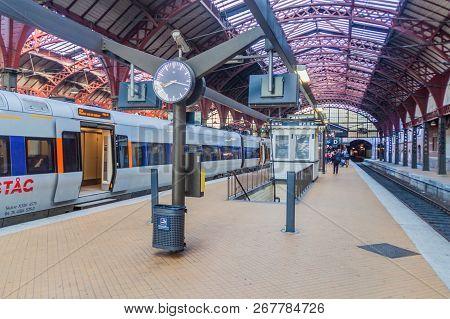 Copenhagen, Denmark - August 26, 2016: Platform Of Copenhagen Central Station, Main Railway Station