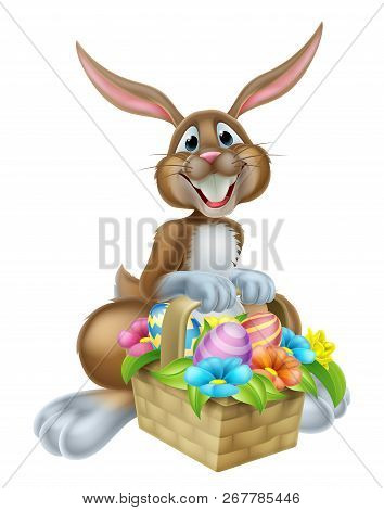 Cartoon Easter Bunny Rabbit Holding An Easter Basket Full Of Chocolate Painted Easter Eggs