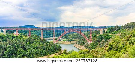 Garabit Viaduct By Alexandre Gustave Eiffel. Cantal Department, Auvergne, France
