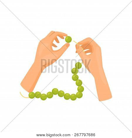 Human Hands Working With Green Beads, Top View. Handmade Bijouterie Jewelry. Hobby And Leisure. Flat