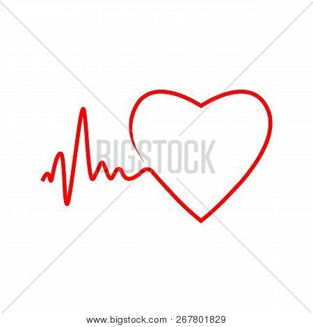 Cardio, Heart, Heart Beat Icon. Vector Illustration, Flat Design.