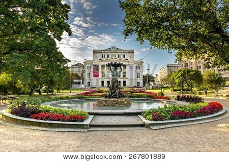 Riga, Latvia - August 26, 2017: Latvian National Academic Opera And Ballet Theatre And Facade Square
