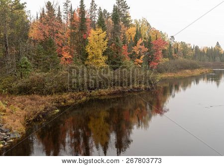 Beautiful Autumn Forest Reflections On The Wisconsin River