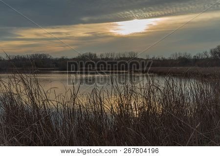 Brilliant Sunset And Marshland At Purgatory Creek Park