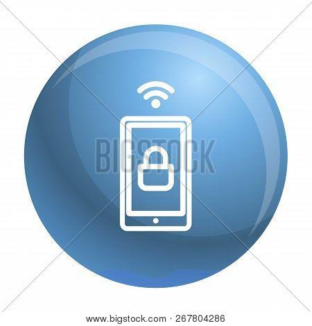 Smartphone Wireless Lock Icon. Outline Smartphone Wireless Lock Vector Icon For Web Design Isolated