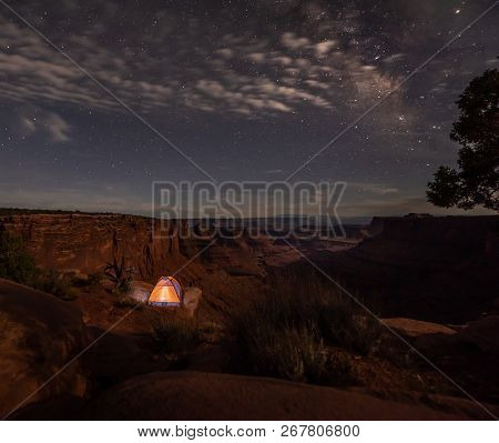 Camping Under The Stars Small Tent On The Edge Of The Canyon Milky Way East Fork Shafer Canyon Near