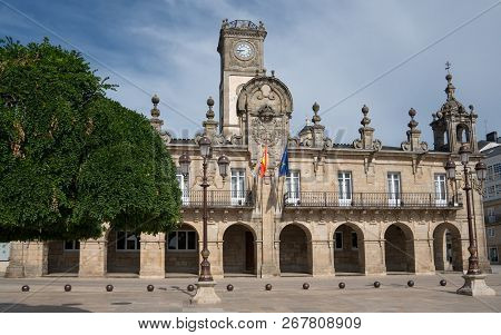 Panoramic Image Of The Historic Townhall Of Lugo On A Cloudy Day, Camino De Santiago Trail, Calicia,