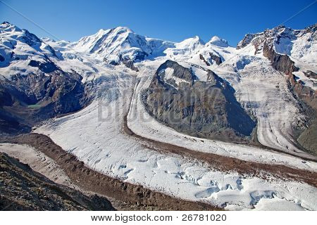 Melting glaciers in the swiss alps