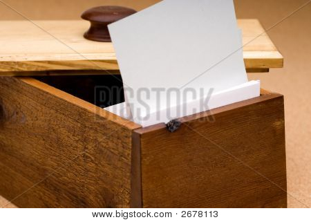 Blank Recipe Card In A Wooden Box For You To Fill In