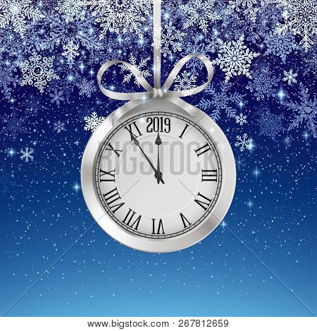 Winter Background With Snowfall And Silver Clock, Decoration For Christmas And New Year, And Winter