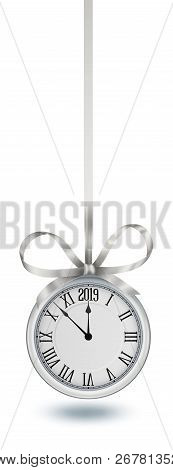 Silver Clock, Hanging On Silver Ribbon With Bow, Design Element For New Years Invitation And Greetin