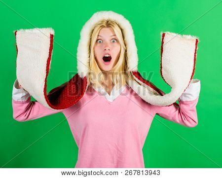 Shocking Softness. Lets Stay Warm In Fur Clothing. Girl Cheerful Warming Up Wear Fur Hood On Green B
