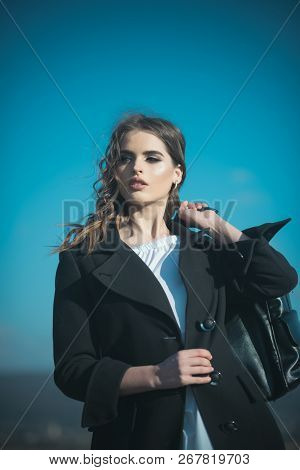Beauty And Fashion Look. Pretty Girl With Fashionable Hair. Fashion Woman With Stylish Makeup And Cu