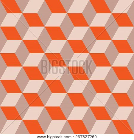 Seamless Pattern Of Colored Cubes. Endless Multicolored Cubic Background. Cube Pattern. Cube Vector.
