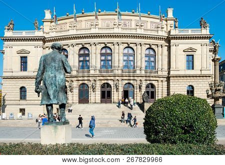 PRAGUE, CZECH REPUBLIC - OCTOBER 14, 2018: A view of the facade of the Rudolfinum building in Prague, Czech Republic, seat of the Czech Philharmonic Orchestra