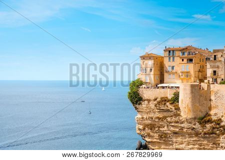 BONIFACIO, FRANCE - SEPTEMBER 19, 2018: A view of the Haute Ville, the old town of Bonifacio, in Corse, France, built on the top of a promontory next to a cliff over the Mediterranean sea