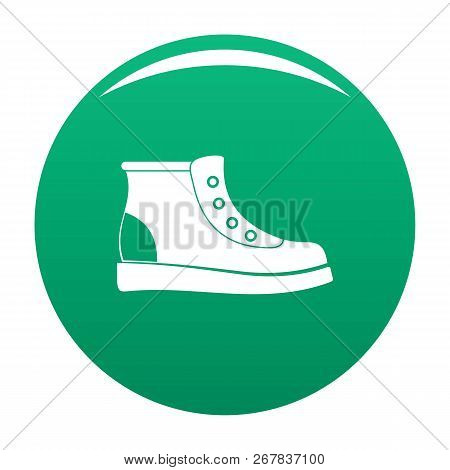 Hiking Boots Icon. Simple Illustration Of Hiking Boots Vector Icon For Any Any Design Green