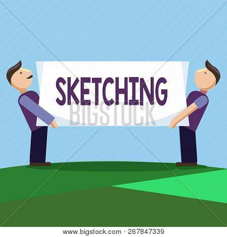 Conceptual Hand Writing Showing Sketching. Business Photo Text Making A Rough Drawing Of Something D