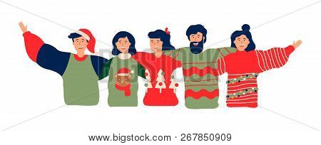 Diverse Friend Group In Christmas Season, Young People Hugging Together With Winter Clothes For Holi