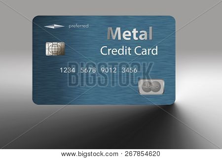 Here Is A Metal Credit Card That Is Blue With A Brushed Metal Finish. This Is An Illustration And It