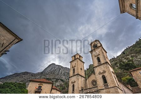 Impressive Cathedral Of St Tryphon In The Old Town In Kotor After Sunset, Montenegro