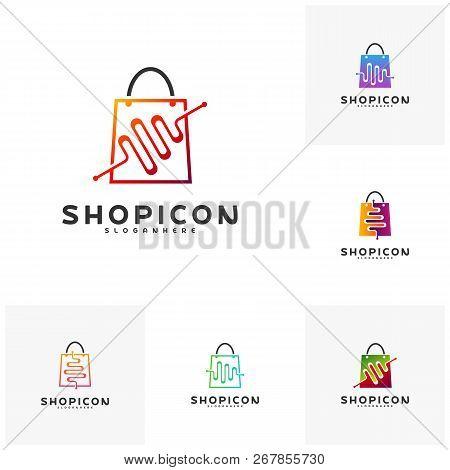 Set Of Shop Pulse Logo Template Design Vector. Pulse Logo